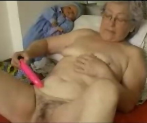 Aged Granny Toying with her..